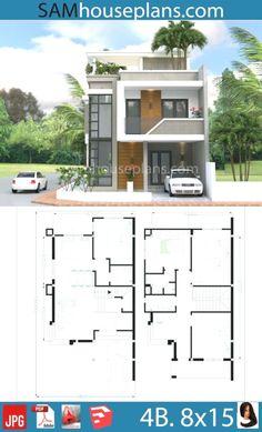 3 Storey House Design, Duplex House Design, House Front Design, Small House Design, Modern House Design, 4 Bedroom House Designs, Duplex House Plans, House Layout Plans, New House Plans