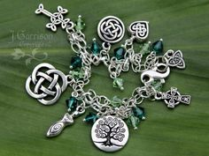 Celtic Knots Silver Charm bracelet w/ emerald & peridot green crystals | NightOwlJewelry - Jewelry on ArtFire