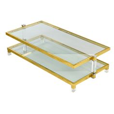 View this item and discover similar for sale at - Brass and Lucite centre table, Italy, Unusually, this table is supported by two centre arms at either end giving it a 'lighter' feel. Glass Furniture, New Furniture, Table Furniture, Coffee Table Inspiration, Coffee Cocktails, Coffee Art, Drawing Room, Cocktail Tables, Coffee Tables