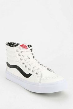 Vans Back-Zip Leather Women's High-Top Sneaker - Urban Outfitters Slip On Sneakers, Leather Sneakers, High Top Sneakers, Leather Vans, Sock Shoes, Vans Shoes, Shoe Boots, Sneakers Fashion, Fashion Shoes