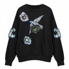embroidery Bird sweatshirts for women sequined flower