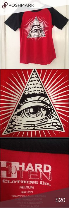 "Hard Ten graphic pyramid/illuminati T EUC Very cool baseball tshirt with the Illuminati All Seeing Eye graphic. Approx 37"" long and  19"" wide. All cotton. Hard Ten Shirts Tees - Short Sleeve"