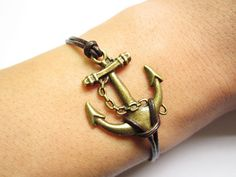 Braceletantique bronze anchor&brown leather chain by lightenme, $3.50  I love this!