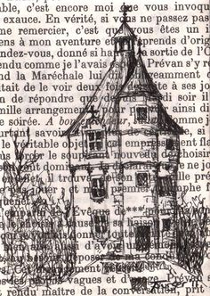"Original ACEO drawing on vintage book page - Chateau Series - The Little House - by Castle on the Hill, Etsy  Inspiration for ""house"" of God over bible verses or christian book page"