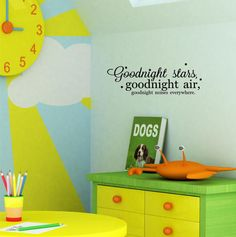 Goodnight Stars, Goodnight Air, Goodnight Noises Everywhere (Goodnight Moon) wall saying vinyl lettering decal sticker