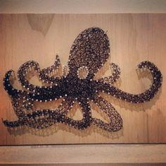 Octopus nail string art