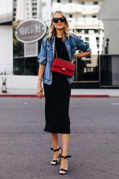 Fashion Jackson Wearing Denim Jacket Black Tshirt Black Silk Skirt Red Chanel Handbag Alexandre Birman Clarita Black Sandals # Casual Outfits with flats leopards Cl Fashion, Trend Fashion, Denim Fashion, Look Fashion, Fashion Outfits, Fashion Tips, Fashion Ideas, Fashion Quotes, Style Année 80