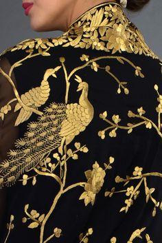 Masterpiece Black Parsi Gara Hand Embroidered Dupatta