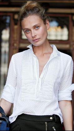 J Crew Swiss Dot Tuxedo White Blouse Long Sleeve Top Size 0 | eBay