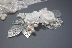 Wedding hair piece with Freshwater pearls by Mkedesignwedding