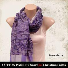 100% Cotton Paisley Scarf (Boysenberry)