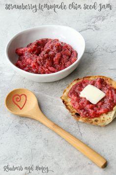 Strawberry Lemonade Chia Seed Jam! Thanks for the gadgets, @KitchenIQ! {Rhubarb and Honey} #FreshTastyValentines #sponsored