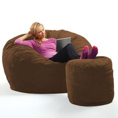 Sink Into It The Giant Beanbag Chair from Brookstone | Furniture | Pinterest | Beanbag chair Sinks and Bean bags  sc 1 st  Pinterest & Sink Into It: The Giant Beanbag Chair from Brookstone | Furniture ...