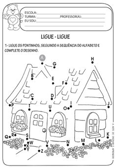 Atividades prontas - Ligue pontos Learning The Alphabet, Alphabet Activities, Preschool Activities, Kids Math Worksheets, Preschool Printables, Music Education, Kids Education, English For Students, Kids Printable Coloring Pages