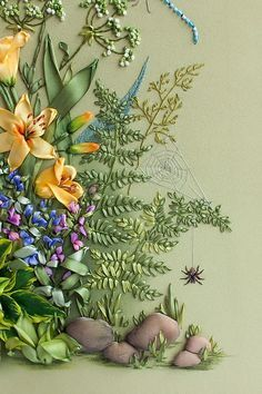 Fern (fougère) Ribbon Embroidery detail..... Love the composition & intricately neat & detailed embroidery !