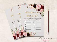 dbd873016d95 Marsala Printable How old was Bride Bridal Shower Game Floral Quiz Burgundy  Pink Peonies Flowers Wed