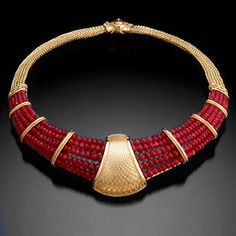 Kent Raible Ruby Bead Necklace  18K yellow gold, ruby beads, hand woven chain with clasp in back. Commissioned 2001