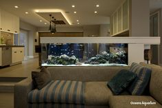 200 gallon custom aquarium living reef aquarium. This room divider aquarium also acts as a bar top on the kitchen. An amazing addition to this home in Long Beach, CA