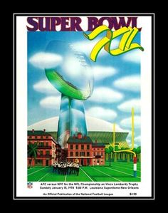 1978 Super Bowl XII Program Cover Art Poster. In Super Bowl XII on January 15, 1978, the Dallas Cowboys defeated the Denver Broncos 27-10, behind the stellar play of MVP's Randy White and Harvey Martin. Here's a replica cover art poster from that game day program. Details High-quality photographic print Printed on heavyweight satin photo paper Ready to frame Great gift idea Made in the U.S.A. Available in 3 sizes Choice of black or white border Buy with confidence. I stand behind everything I s