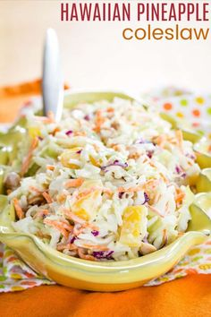 Hawaiian Coleslaw, Pineapple Coleslaw, Pineapple Diet, Picnic Side Dishes, Summer Side Dishes, Easy Summer Salads, Summer Salad Recipes, Easy Baked Beans, Smoked Pork Ribs