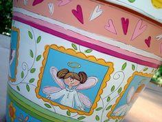 "Hand Painted Terracotta Pot ""Fairy Fun""  8 Inch"