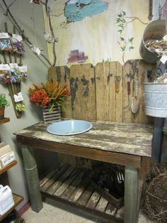 reclaimed materials potting bench