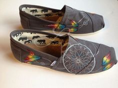 Rainbow dream catchers hand painted on TOMS by ArtfulSoles on Etsy, $140.00