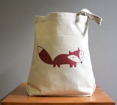 Canvas tote bag fox happy cute and adorable by squarepaisleydesign, $16.00