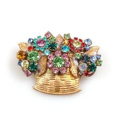 "Fascinating flower basket brooch, size 1.75"" x 1.25"". Price: $12.90"