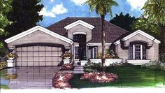 Colored front elevation image for Mediterranean Homeplans LS-B-92002.