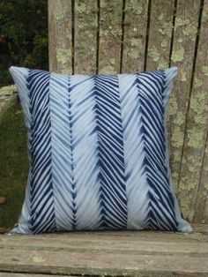 Indigo Chevron Shibori Pillow by CapeCodShibori on Etsy, $70.00