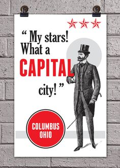 "Columbus ""What a Capital City"" Print 11 x 17 Ohio City Art Poster. $12.50, via Etsy."