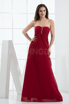 Strapless Luxury Red Bridesmaids Dress - Order Link: http://www.theweddingdresses.com/strapless-luxury-red-bridesmaids-dress-twdn5161.html - Embellishments: Beaded; Length: Floor Length; Fabric: Chiffon; Waist: Empire - Price: 95.0581USD