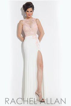 Rachel Allan 6935 - $378.00. Beautiful lace bodice long dress with slit.