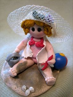 Polymer Clay Girl - Playing At The Beach.
