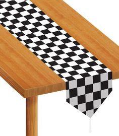 Décoration centre de table - drapeau à damiers