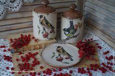 """Купить """"Птичьи трели""""-набор для кухни - бежевый, туесок, банка для сыпучих, банка для продуктов"""
