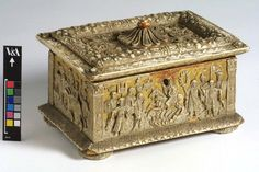 Box, Italy, ca 1510, Gilt with moulded white lead 'pasta di muschio' decoration. Gilt-boxes, decorated with scented lead-based paste (pasta di muschio) and illustrated with biblical or classical legends, were popular throughout Italy between about 1470 and 1570.