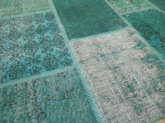 TURQUOISE & TEAL Blue Patchwork Rug  Handmade from by WeMakeRugs, $640.00