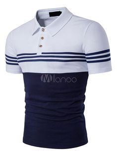 Cloudstyle New Men Fashion T-shirt Contrast Color T Shirt Homme Turn-down Collar Short Sleeve Casual T-shirt Fitness Polo Shirt Brands, Mens Polo T Shirts, Slim Fit Polo Shirts, Casual T Shirts, Golf Shirts, Sports Shirts, Business Casual Men, Men Casual, Mens Striped Sweater
