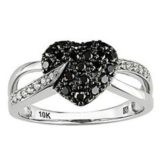 @Overstock - Black and white diamond heart ring10-karat white gold jewelry Click here for ring sizing guidehttp://www.overstock.com/Jewelry-Watches/Miadora-10k-Gold-1-3ct-TDW-Black-and-White-Diamond-Heart-Ring-I-J-I2-I3/3300998/product.html?CID=214117 $237.99