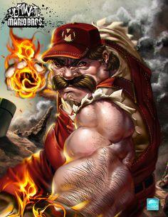Ultimate Mario Bros: Light em UP! by Nthinila Phumaphi [Gaming Fan Art] Nick Fury, Super Mario Brothers, Super Mario Bros, Naruto Shippuden, Caricature, Hulk, Yoshi, Thor, Comics