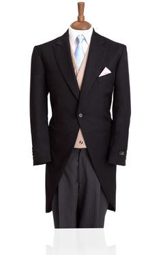 1 Button Black Wool Morning Suit with Striped Trousers Groomsmen Outfits, Groom Outfit, Groom Attire, Groom Suits, Morning Coat, Morning Dress, Wedding Men, Wedding Suits, Wedding Ideas