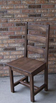 Gentil Chair, Farm Chair, Ladder Back Chair, Wooden Chair, Stained Chair, Painted