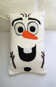 Olaf Fleece Pillow Case, Frozen by PatternsOfWhimsy on Etsy