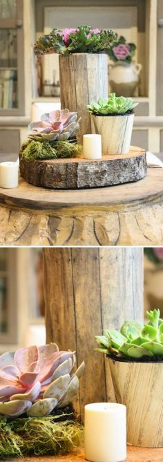 Check out how to make a DIY rustic tree stump centerpiece @istandarddesign