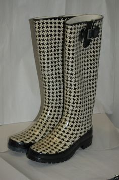 Sperry Rainboots Size 7 M Black Cream  #SperryTopSider #Rainboots