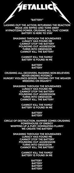 Metallica - Battery Lyrics