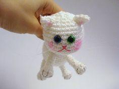 Amigurumi Cat Crochet Cat Kitten Art Doll White Cat by AllSoCute, $30,00