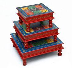 Handmade Home, Handmade Wooden, Handmade Gifts, Indian Furniture, Kids Furniture, Table Furniture, Painted Furniture, Hand Painted Stools, Wooden Chess Board